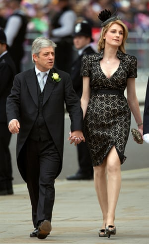 Bercow and his wife, Sally, attend the wedding of Prince William and Kate Middleton in 2011