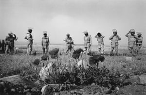 Deminers preparing for work in a minefield near Kurmal close to the Iranian border in 2010