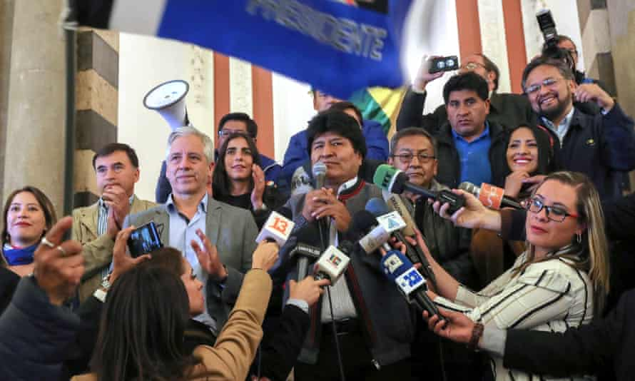 The president of Bolivia Evo Morales speaks to the press at the Palacio Quemado of La Paz