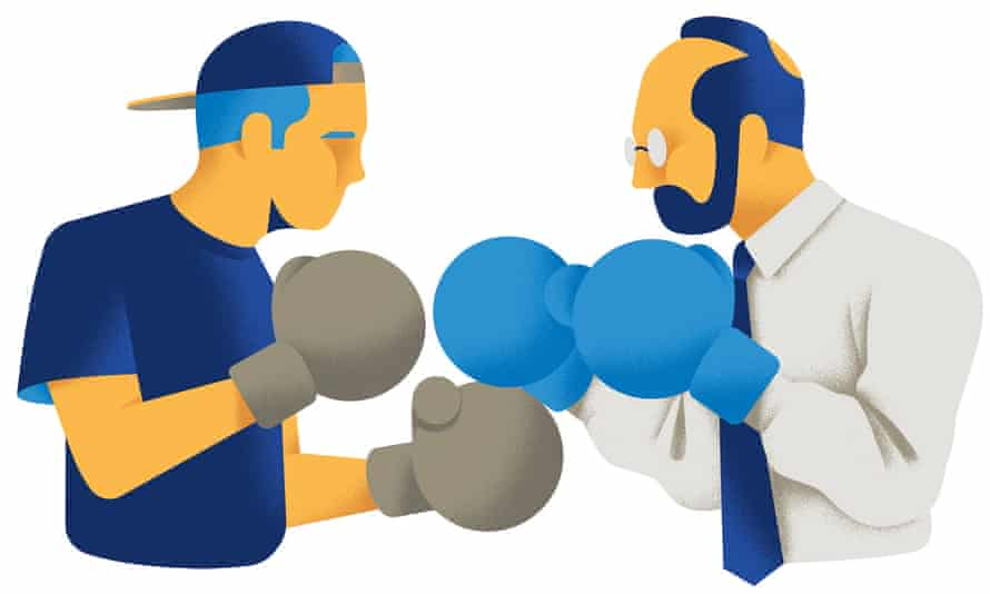 Illustration of two men boxing, one wearing sports cap, the other in shirt and tie