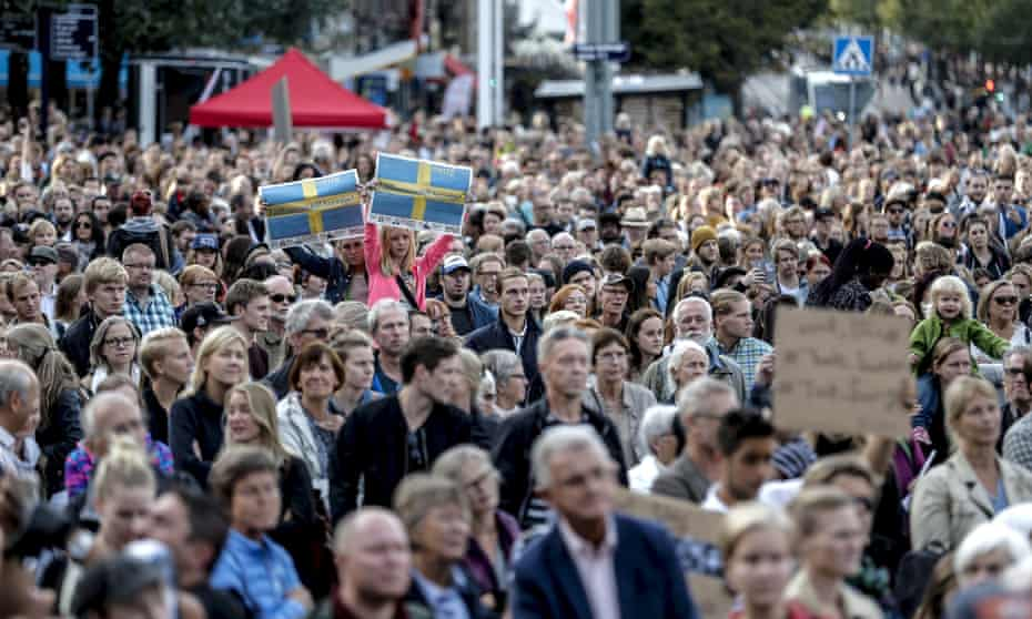 People attend a 'Refugees Welcome' demonstration at the Gotaplatsen square in Gothenburg, Sweden, September 9, 2015.