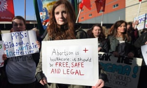A protest in Belfast last April in support of a 21-year-old woman who was prosecuted after buying drugs on the internet to induce a miscarriage.