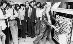 Tony Brooker placing a wreath at the closing-down ceremony for an early model of computer at Essex University, around 1972