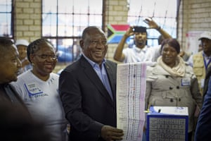 President Cyril Ramaphosa casts his vote in Soweto, Johannesburg