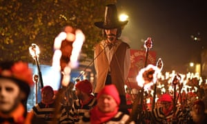 An effigy of Guy Fawkes is paraded through the streets