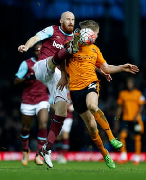 West Ham United's James Collins and Wolverhampton Wanderers' Bjorn Sigurdarson battle for the ball at Upton Park. Nikica Jelavic's sublime strike secured their progress to the next round