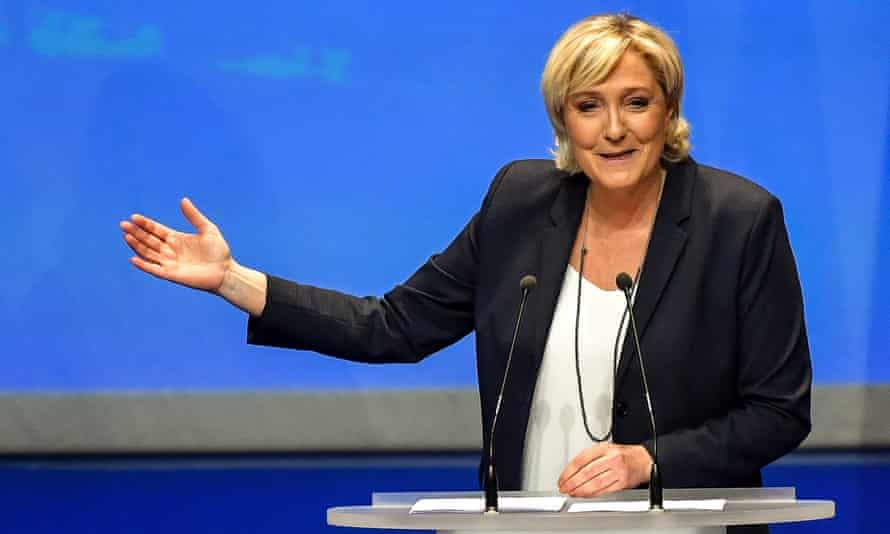 Marine Le Pen speaks during her party's congress in Lille after being re-elected for a third term as leader.