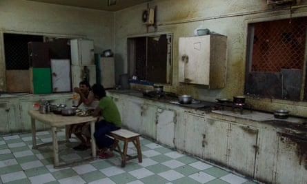 The eating area in a labour camp in Qatar