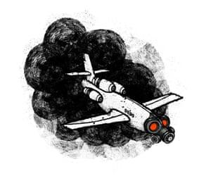Illustration by David Foldvari of aeroplane wearing a gas mask.