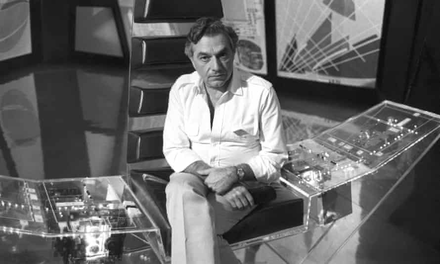 Ken Adam in the pyramid control centre he designed for the 007 film Moonraker (1979).