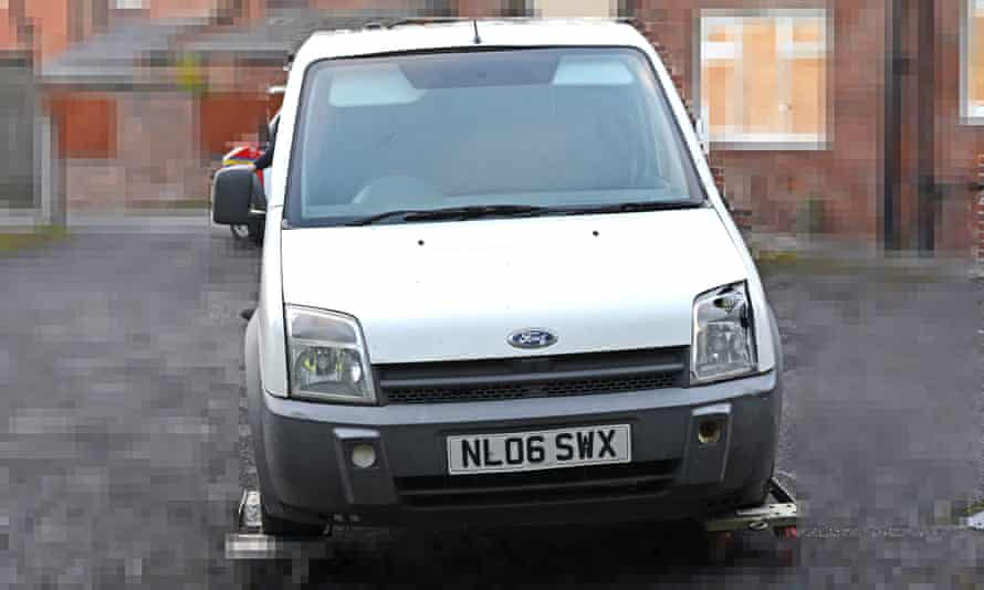 The stolen van that was being pursued by police before colliding with Leo Durrington.