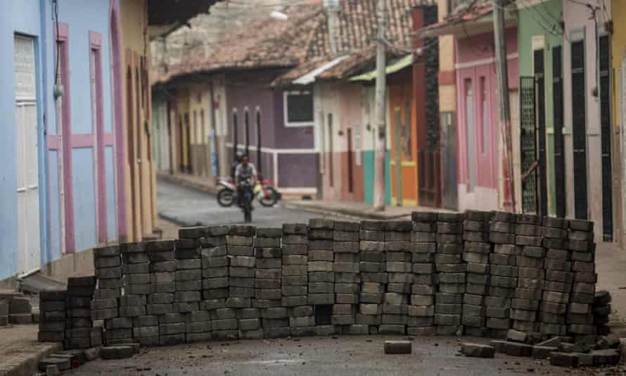 A barricade blocks a street in Granada earlier this week.
