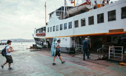 Ferry attendants often stop Piper from boarding when they spot his blue cello case.