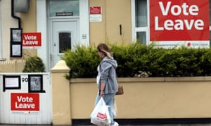 Vote Leave boards are displayed in Redcar, north-east England in June, 2016.