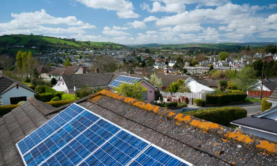 Solar panels in Totnes. Small solar businesses told the Guardian the government was 'actively destroying UK renewables'.