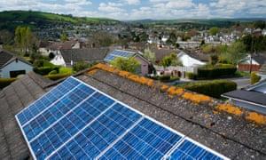 Solar panels on a roof in Totnes, Devon
