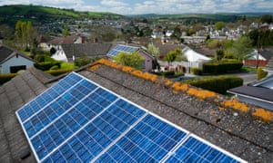 Solar panels on a roof in Totnes, Devon.