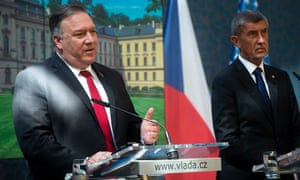 US secretary of state Mike Pompeo (L) and Prime Minister of the Czech Republic Andrej Babis (R) attend a press conference in Prague today