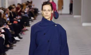 Asymmetric coats buttoned off-centre were one of the key trends in Balenciaga's collection at the Paris fashion week.