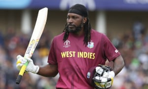 Chris Gayle leaves the field after making a quickfire 50.