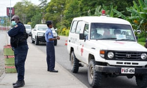 Police officers on duty in Kokopo, East New Britain, during Papua New Guinea's state of emergency