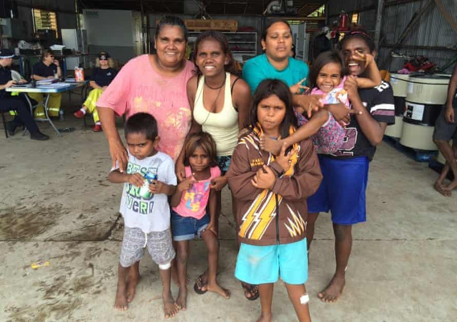 Nadine Daly and her family from the remote Nauiyu community on the Daly River spent Saturday night in Darwin's Foskey Pavilion after being evacuated due to floodwaters.