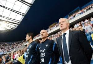 Didier Deschamps stands before the international match against Uruguay on 15 August 2012 at the Stade Océane