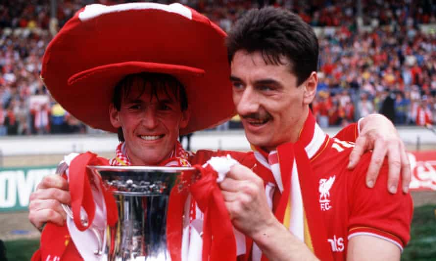 Kenny Dalglish, as Liverpool player-manager, and Ian Rush with the FA Cup after sealing the Double by beating Everton 3-1 in May 1986