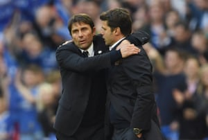 Antonio Conte and Mauricio Pochettino embrace after the full-time whistle.