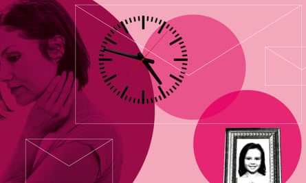 woman clock and picture of young girl