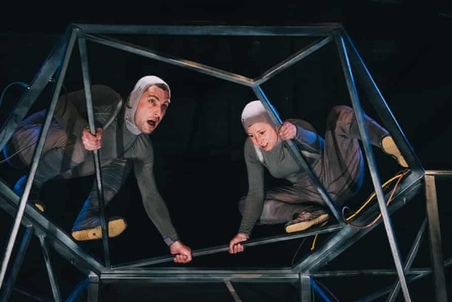 Dramatic framework … machine operatives Gareth Aled and Maria Gray.