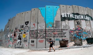 The wall separating Israel and the West Bank at Bethlehem.