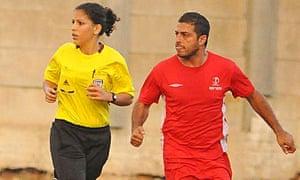 Sanaa Darawsha officiates a Liga Bet game between Hapoel Shefa-'Amr and Akko in September 2012