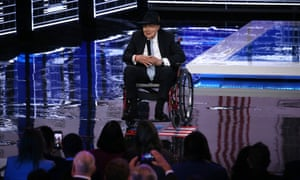 Former Senate Majority Leader Harry Reid warmed up the audience before the start of the Democratic presidential primary debate at Paris Theater in Las Vegas.