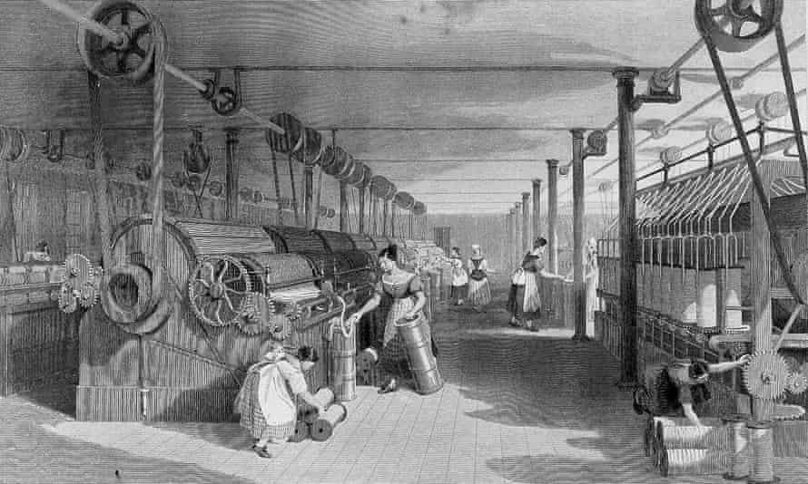 Black and white print showing early nineteenth century cotton manufacturing equipment; a long building with rows of machines being served by women and girls.
