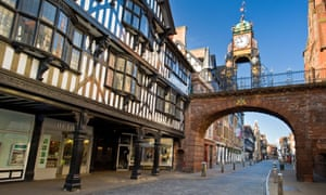 The Victorian Eastgate Clock on the City Walls, Eastgate Street, Chester, Cheshire, England, UK.