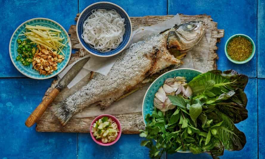 Salt crust fish, rice noodles and lettuce parcels.