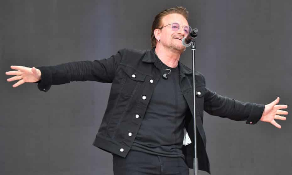 Bono performs during Canada Day celebrations on Parliament Hill in July 2017.