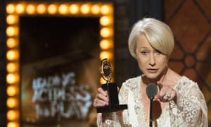 Helen Mirren at the Tonys, best leading actress in a play for The Audience