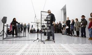 Members of the art collective Uniform perform amid Spong's work Ida-Ida, 2019.