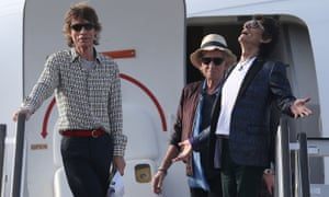 Mick Jagger, Keith Richards and Ronnie Wood of the Rolling Stones land at José Martí airport in Havana, Cuba