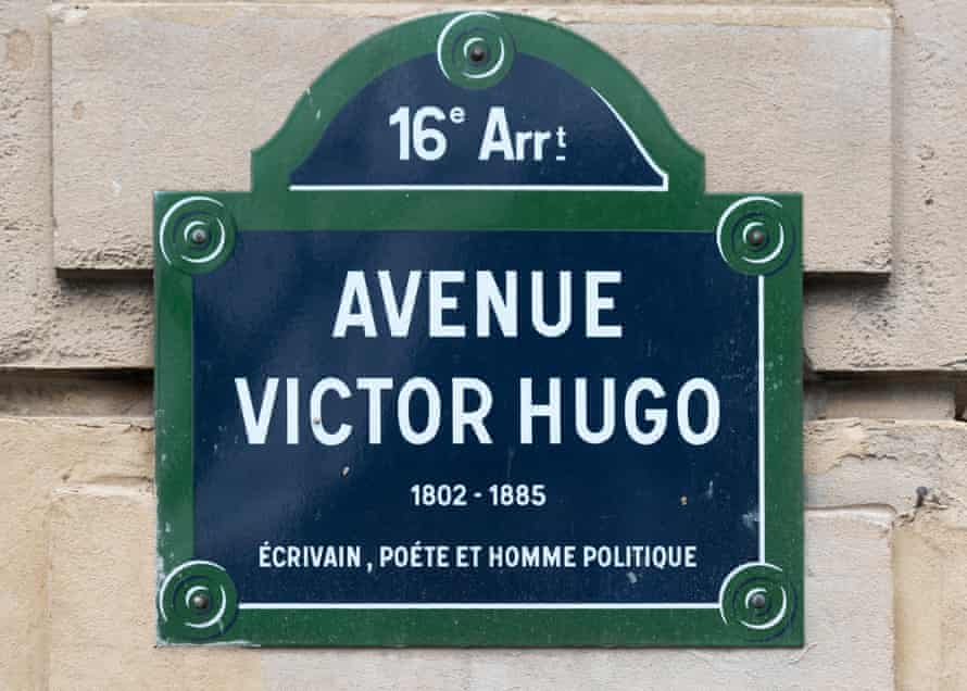 An Avenue Victor Hugo street sign in the 16th district of Paris.