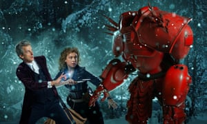 Together again … Peter Capaldi, Alex Kingston and a big red robot.
