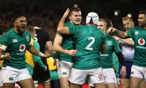 Jacob Stockdale celebrates his try during Ireland's victory over the world champions New Zealand.