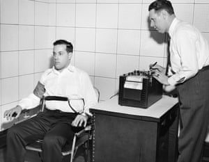 John Larson (right), the inventor of the polygraph lie detector.