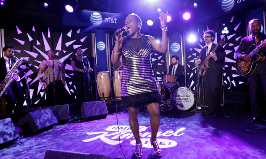 Sharon Jones and the Dap-Kings performing on the American late-night TV show Jimmy Kimmel Live! in 2014.