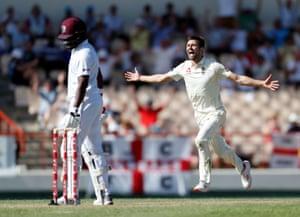 Wood celebrates taking the wicket Bravo.