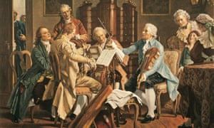 A 19th century painting imagining Haydn playing in a string quartet.