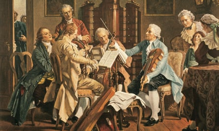 A 19th century painting imagining Haydn (1732-1809) conducting a string quartet.