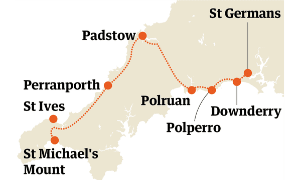 Cornwall route map